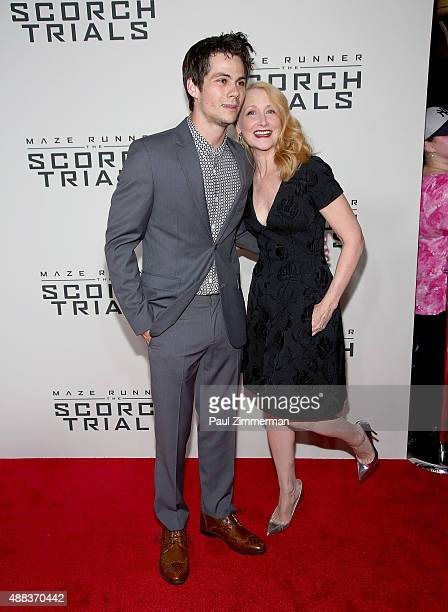 """Actors Dylan O'Brien and Patricia Clarkson attend the """"Maze Runner: The Scorch Trials"""" New York Premiere at Regal E-Walk on September 15, 2015 in New..."""
