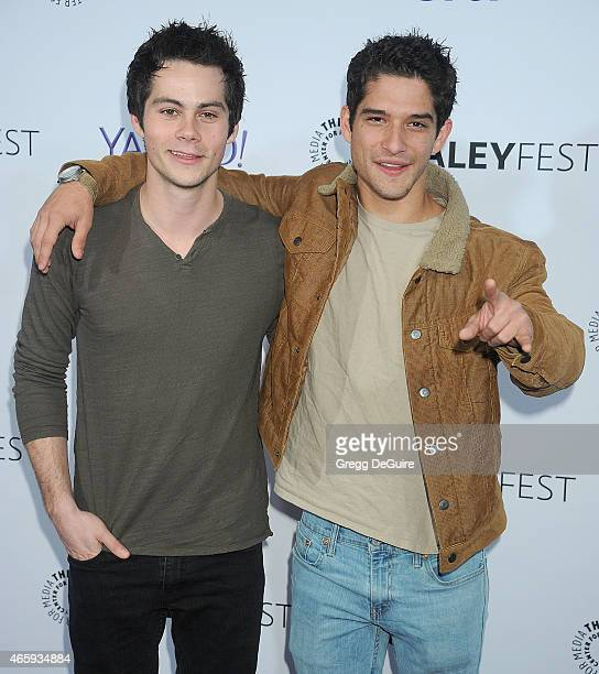 Actors Dylan O'Brien and Tyler Posey arrive at the 32nd Annual PALEYFEST LA Teen Wolf at Dolby Theatre on March 11 2015 in Hollywood California