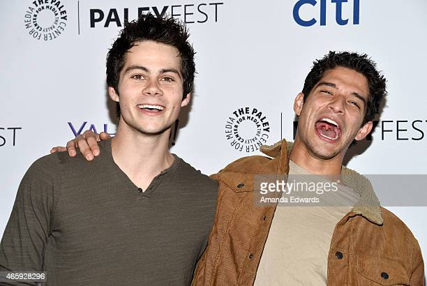 Actors Dylan O'Brien and Tyler Posey arrive at The Paley Center For Media's 32nd Annual PALEYFEST LA Teen Wolf event at the Dolby Theatre on March 11...