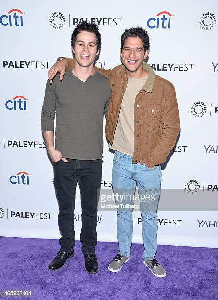Actors Dylan O'Brien and Tyler Posey arrive at The Paley Center For Media's 32nd Annual PALEYFEST LA 'Teen Wolf' event at Dolby Theatre on March 11...