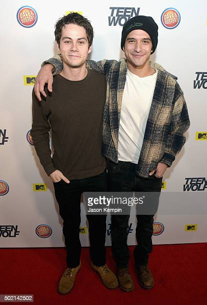 Actors Dylan O'Brien and Tyler Posey attend the MTV Teen Wolf Los Angeles Premiere Party on December 20 2015 in Hollywood California
