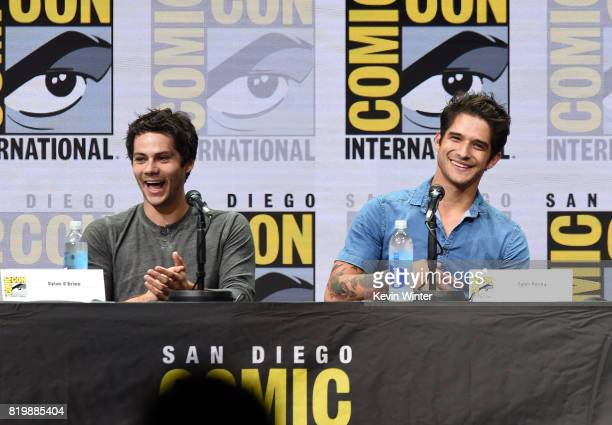 Actors Dylan O'Brien and Tyler Posey speak onstage at the Teen Wolf panel during ComicCon International 2017 at San Diego Convention Center on July...