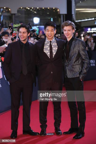 Actors Dylan O'Brien Ki Hong Lee and Thomas BrodieSangster attend the Seoul premiere for 'Maze Runner The Death Cure' on January 11 2018 in Seoul...