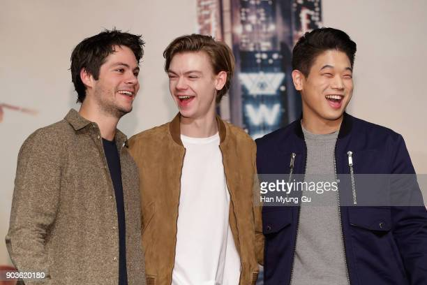 Actors Dylan O'Brien Thomas BrodieSangster and Ki Hong Lee attend the press conference for 'Maze Runner The Death Cure' Seoul Premiere on January 11...