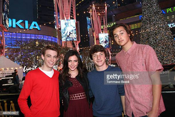 Actors Dylan Riley Snyder Ryan Newman Jake Short and singer Dylan Rouda attend the KOST 1035's ChristmasLand Festival and Concert Series at Nokia...