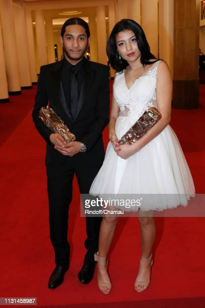 Actors Dylan Robert and Kenza Fortas winners of the award for Best Male and Female Newcomer for Sheherazade pose during the Cesar Film Awards 2019 at...