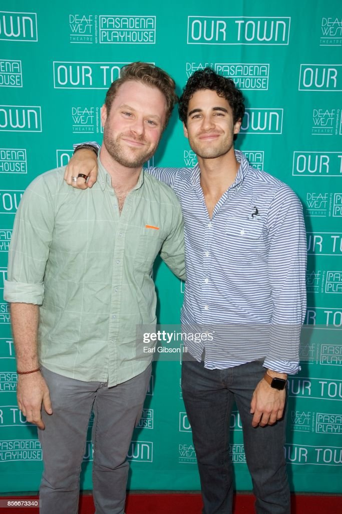 Actors Dylan Saunders and Darren Criss attend the Pasadena Playhouse And Deaf West Theatre's 'Our Town' Opening Night at Pasadena Playhouse on October 1, 2017 in Pasadena, California.