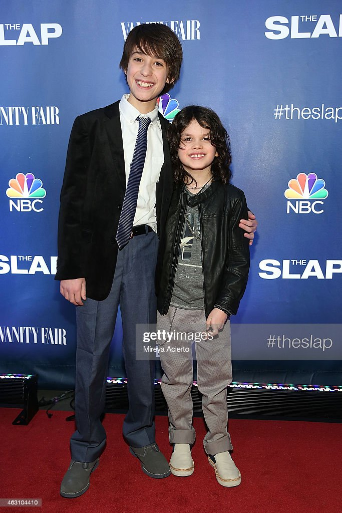 Actors Dylan Schombing and Owen Tanzer attend 'The Slap' New York Premiere Party at The New Museum on February 9, 2015 in New York City.