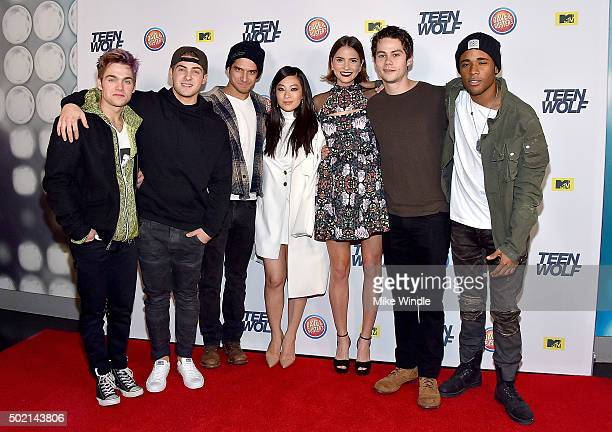 Actors Dylan Sprayberry Cody Christian Tyler Posey Arden Cho Shelley Hennig Dylan O'Brien and Khylin Rhambo attend the MTV Teen Wolf Los Angeles...