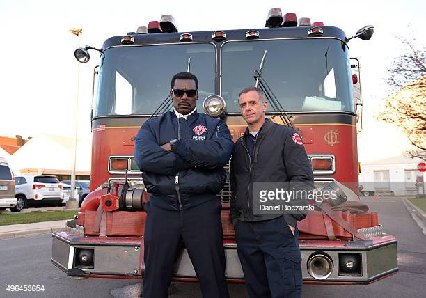 Actors Eamonn Walker and David Eigenberg attend the on set demonstration of Chicago Fire during the press junket for NBC's 'Chicago Fire' 'Chicago...