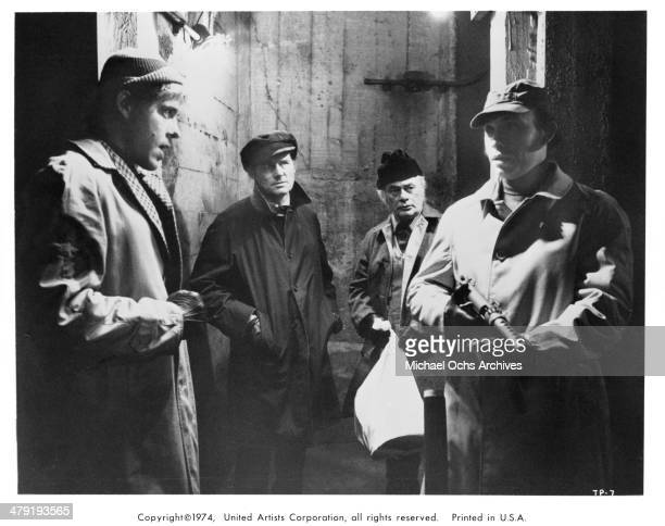 Actors Earl Hindman Robert Shaw Martin Balsam and Hector Elizondo in a scene from the movie The Taking of Pelham One Two Three circa 1974
