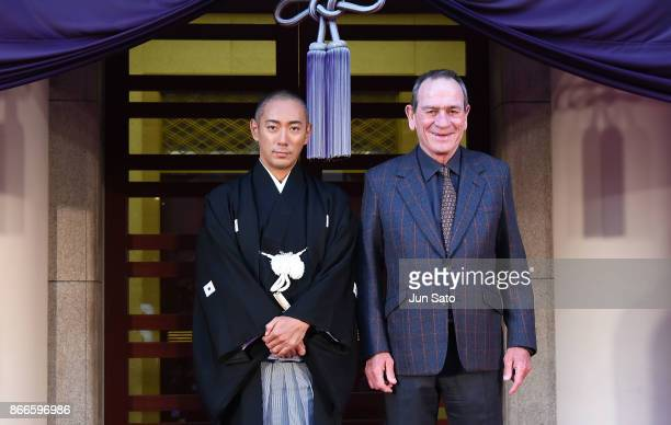Actors Ebizo Ichikawa and Tommy Lee Jones attend the Special Night event at Kabukiza Theatre during the 30th Tokyo International Film Festival on...