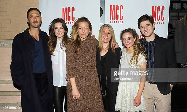 Actors Ebon MossBachrach Meghann Fahy Piper Perabo Tasha Lawrence Lizzy DeClement and Josh Green attend the Lost Girls opening night after party at...
