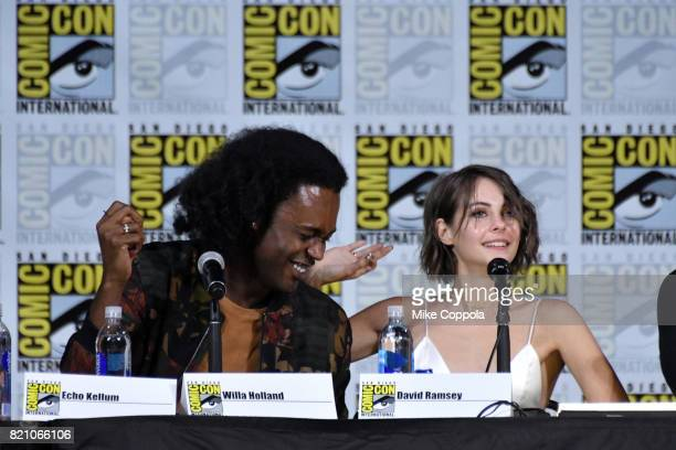 Actors Echo Kellum and Willa Holland attend the 'Arrow' Video Presentation And QA during ComicCon International 2017 at San Diego Convention Center...