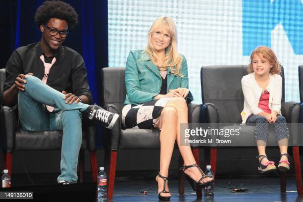 Actors Echo Kellum Dakota Johnson and Maggie Elizabeth Jones speak onstage at the 'Ben and Kate' panel during day 3 of the FOX portion of the 2012...