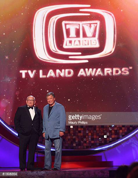 Actors Ed Asner and William Shatner present onstage during the 6th annual TV Land Awards held at Barker Hangar on June 8 2008 in Santa Monica...