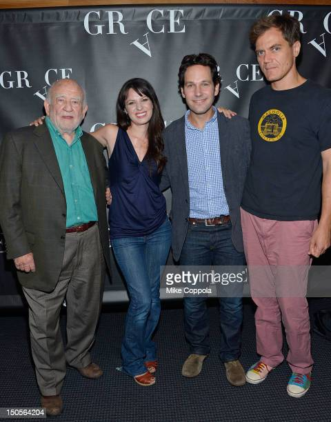 Actors Ed Asner Kate Arrington Paul Rudd and Michael Shannon attend Broadway's Grace cast photocall at the Grace Hotel on August 21 2012 in New York...
