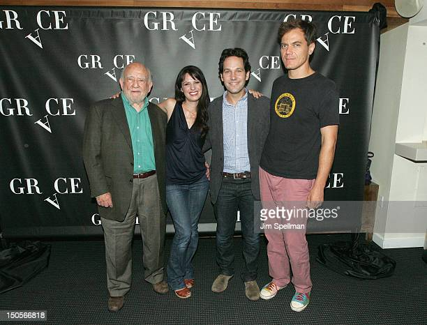 Actors Ed Asner Kate Arrington Paul Rudd and Michael Shannon attends Broadway's Grace cast photocall at the Grace Hotel on August 21 2012 in New York...
