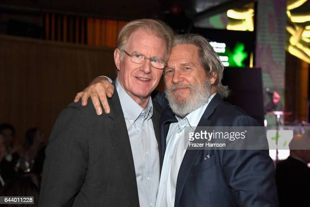 Actors Ed Begley Jr and Jeff Bridges attend the 14th Annual Global Green Pre Oscar Party at TAO Hollywood on February 22 2017 in Los Angeles...