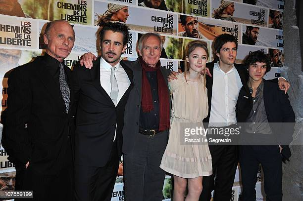 Actors Ed Harris Colin Farrell Director Peter Weir Saoirse Ronan Jim Sturgess attend the Paris Premiere of the film The Way Back at Cinematheque...