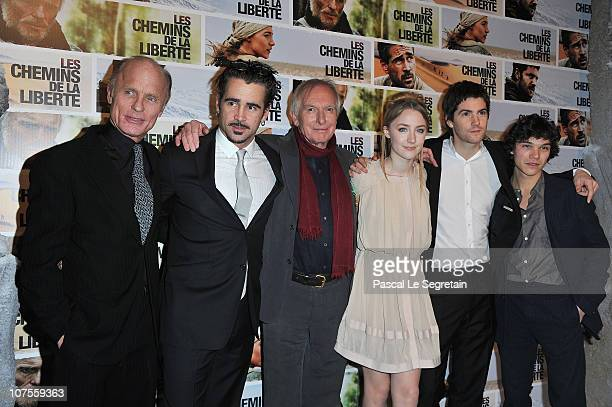 Actors Ed Harris Colin Farrell Director Peter Weir Saoirse Ronan Jim Sturgess and Sebastian Urzeudowsky attend the Paris Premiere of the film The Way...