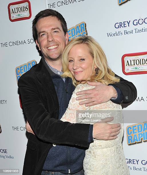 Actors Ed Helms and Anne Heche attend a screening of Cedar Rapids hosted by The Cinema Society and Altoids at the SVA Theater on February 10 2011 in...