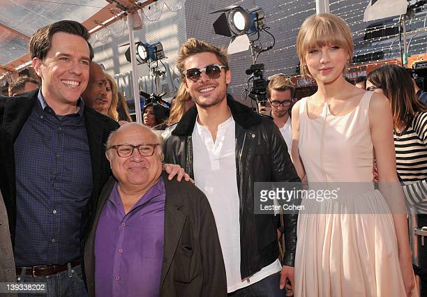 Actors Ed Helms Danny DeVito Zac Efron and Taylor Swift arrive at the Dr Seuss' The Lorax Los Angeles Premiere at Universal Studios Hollywood on...