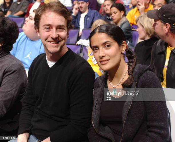 Actors Ed Norton and Salma Hayek sit courtside as the Los Angeles Lakers play the Toronto Raptors at Staples Center on December 29 2002 in Los...