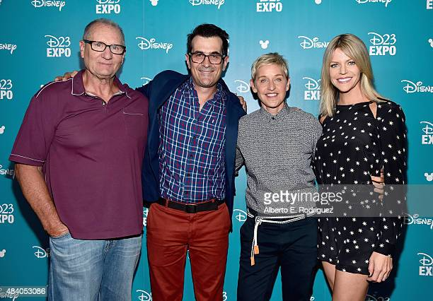 Actors Ed O'Neill Ty Burrel Ellen DeGeneres and Kaitlin Olson of FINDING DORY took part today in 'Pixar and Walt Disney Animation Studios The...