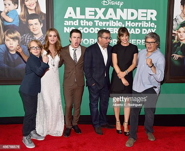 Actors Ed Oxenbould Kerris Dorsey Dylan Minnette Steve Carell Jennifer Garner and director Miguel Arteta attend The World Premiere of Disney's...