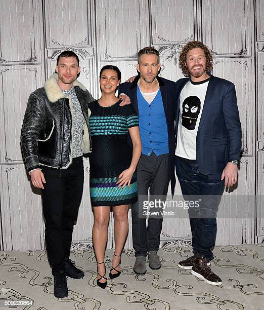Actors Ed Skrein Morena Baccarin Ryan Reynolds and TJ Miller visit AOL Build Speaker Series to discuss their new film Deadpool at AOL Studios In New...