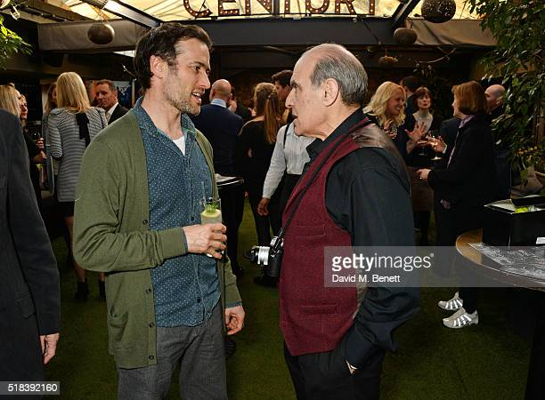 Actors Ed Stoppard and Tim PigottSmith attend the launch of new book 'Curtain Call A Year Backstage in London Theatre' a collection of backstage...