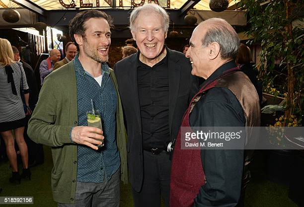 Actors Ed Stoppard Tim PigottSmith and David Suchet attend the launch of new book 'Curtain Call A Year Backstage in London Theatre' a collection of...