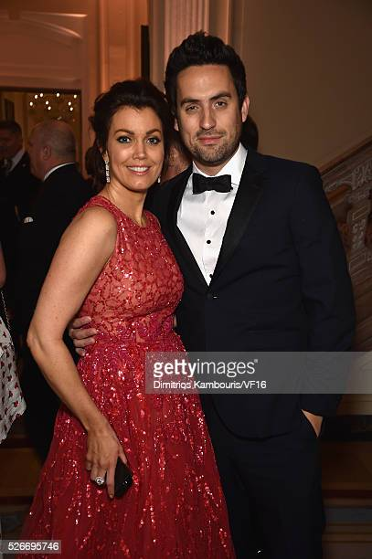 Actors Ed Weeks left and Bellamy Young attend the Bloomberg Vanity Fair cocktail reception following the 2015 WHCA Dinner at the residence of the...