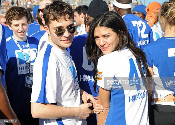 Actors Ed Westwick and Jessica Szohr attend DIRECTV's 4th Annual Celebrity Beach Bowl on February 6 2010 in Miami Beach Florida