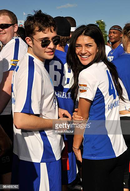 Actors Ed Westwick and Jessica Szohr attend the DIRECTV's 4th Annual Celebrity Beach Bowl on February 6 2010 in Miami Beach Florida