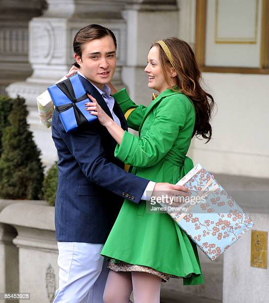 Actors Ed Westwick and Leighton Meester film on location for 'Gossip Girl' on the streets of Manhattan on March 16 2009 in New York City
