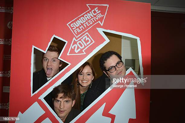"""Actors Eddie Hassell, Ashton Kutcher, Ahna O'Reilly and Josh Gad attend the """"jOBS"""" Premiere during the 2013 Sundance Film Festival at Eccles Center..."""