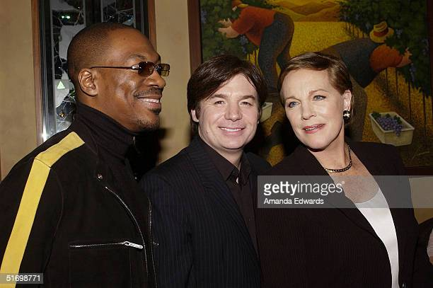 Actors Eddie Murphy Mike Myers and Julie Andrews attend the Shrek 2 DVD release party on November 8 2004 at Spago in Beverly Hills California