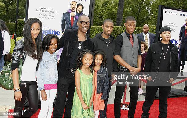 Actors Eddie Murphy Yara Shahidi and family arrive at the Los Angeles premiere of Imagine That at the Paramount Theater on the Paramount Studios lot...