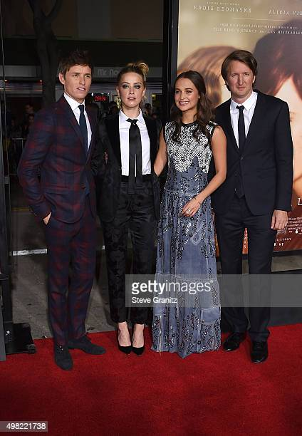 "Actors Eddie Redmayne, Amber Heard and Alicia Vikander and director Tom Hooper attend the premiere of Focus Features' ""The Danish Girl"" at Westwood..."