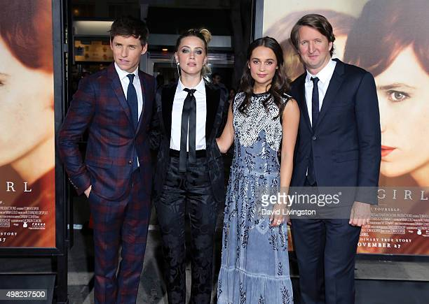 "Actors Eddie Redmayne, Amber Heard and Alicia Vikander and director Tom Hooper attend the premiere of Focus Features' ""The Danish Girl"" at the..."