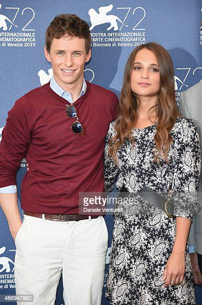 Actors Eddie Redmayne and Alicia Vikander attend a photocall for 'The Wait' during the 72nd Venice Film Festival at Palazzo del Casino on September 5...