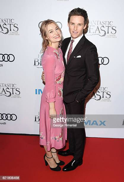 Actors Eddie Redmayne and Alison Sudol attend 'Fantastic Beasts And Where To Find Them' Canadian Premiere at YongeDundas Square on November 8 2016 in...