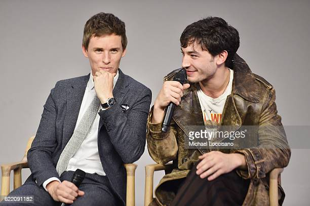 Actors Eddie Redmayne and Ezra Miller attend the Apple Store Soho presentation of Meet the Cast 'Fantastic Beasts And Where To Find Them' at Apple...