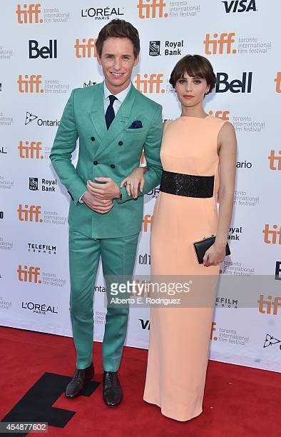 Actors Eddie Redmayne and Felicity Jones attend The Theory Of Everything premiere during the 2014 Toronto International Film Festival at Princess of...