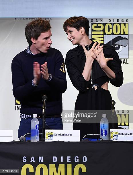 Actors Eddie Redmayne and Katherine Waterston attend the Warner Bros 'Fantastic Beasts and Where to Find Them' Presentation during ComicCon...