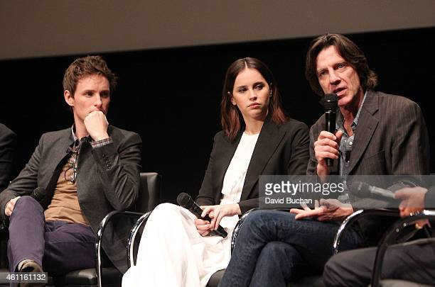 Actors Eddie Redmayne Felicity Jones and director James Marsh attend The Contenders Screening and QA of The Theory of Everything at Billy Wilder...