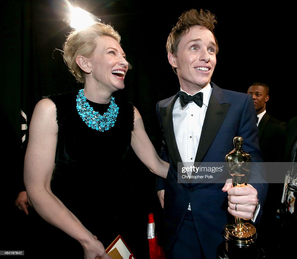 Actors Eddie Redmayne winner of the Best Actor in a Leading Role Award for 'The Theory of Everything' (R) and Cate Blanchett attend the 87th Annual Academy Awards at Dolby Theatre on February 22, 2015 in Hollywood, California.