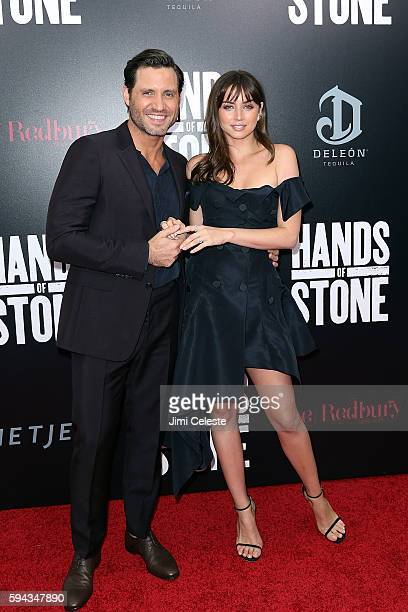 Actors Edgar Ramirez and Ana De Armas attend The Weinstein Company Presents the US Premiere of 'Hands of Stone' at SVA Theater on August 22 2016 in...